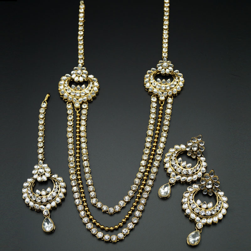 Shray White Kundan Rani Haar Set - AntiqueGold