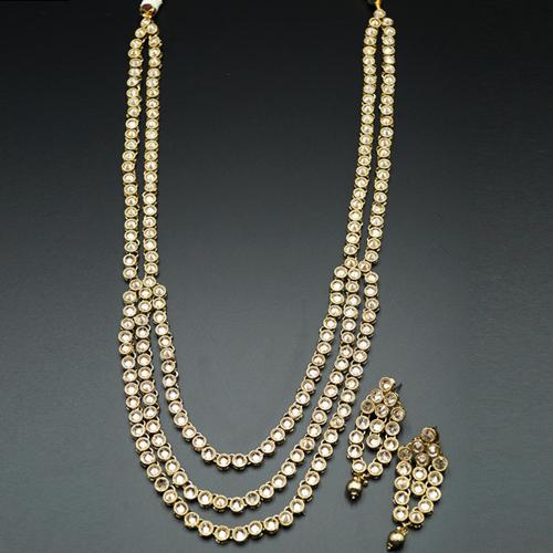 Kasy Gold Polki Stone Rani Haar Set - AntiqueGold