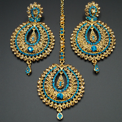 Kyra Turquoise Diamante Earring Tikka Set - Gold