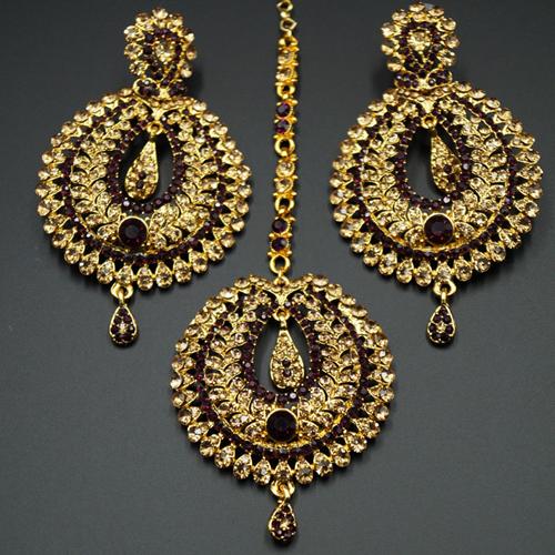 Kyra Dark Purple Diamante Earring Tikka Set - Gold
