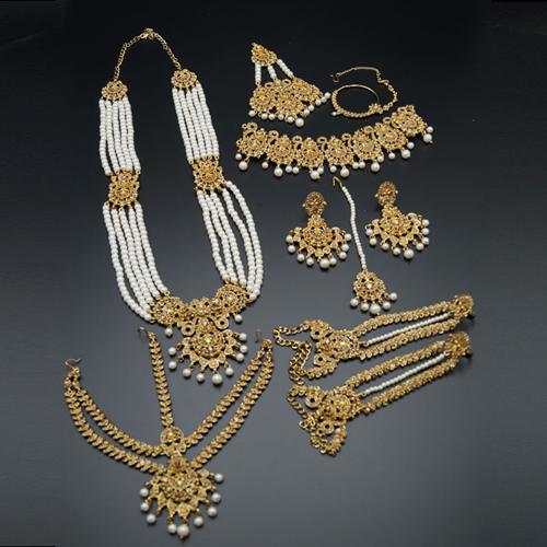 Dharma Gold Diamante And Pearl Bridal Set-Gold