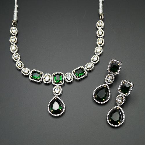 Vena Green/White Diamante Necklace Set - Antique Silver