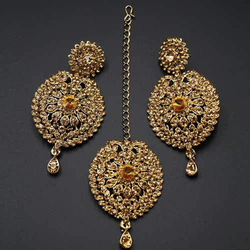 Ahuti Gold Diamante Earring Tikka Set - Gold