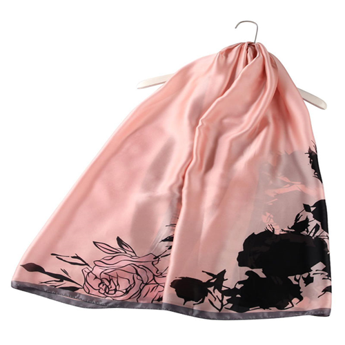 Luscious Rose Print Silk Scarf (Baby Pink)