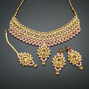 Kari - Gold Diamante and Baby Pink Beads Choker Necklace Set - Gold