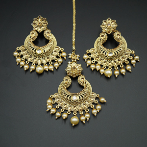 Radhi Gold Diamante Earring Tikka - Gold