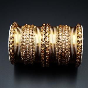 Vai Gold Polki Stone Bangle Set - Antique Gold