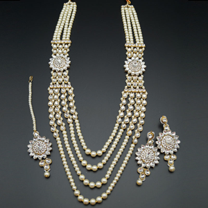 Varni White Kundan and Pearl Rani Haar Set - Gold