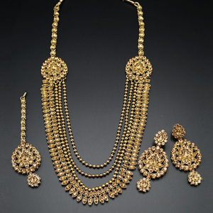 Vahni Gold Kundan and Diamante Rani Haar Set - AntiqueGold