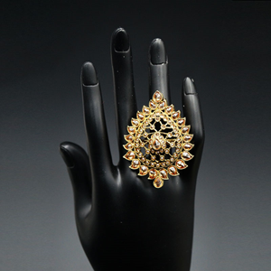 Jeev- Gold Polki Stone Ring - AntiqueGold