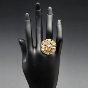 Otiri- Gold Polki Stone Ring - AntiqueGold