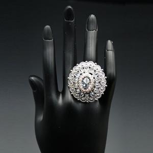 Kiku - White Polki Stone Ring - Silver