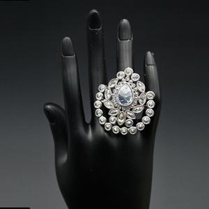 Dhir - White Polki Stone Ring - Silver