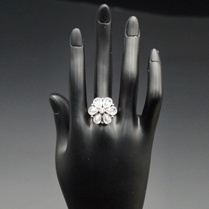 Radi - White Polki Stone Ring - Silver