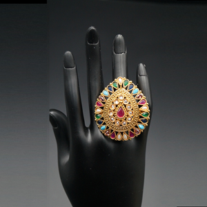 Rahi- Gold Multicolour Polki Stone Ring - Gold