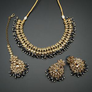 Mahika - Gold Polki Stone/Grey Beads Necklace set - Antique Gold