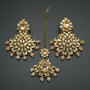 Ciel-Gold Kundan/ Peach Beads Earring Tikka Set - Gold