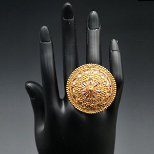 Hena- Gold Polki Stone Ring - Gold