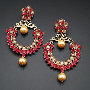 Dil Pink Kundan / Gold Diamante Earrings – Gold