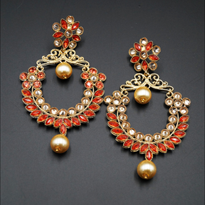 Dil Orange Kundan / Gold Diamante Earrings – Gold