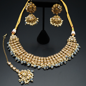 Jash Gold Polki Stone/Grey Bead Necklace set - Antique Gold
