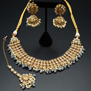 Jash Gold Polki Stone/Grey Bead Necklace set - Antique Gold