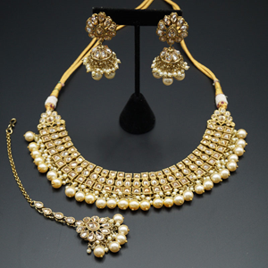 Jash Gold Polki /Pearl Necklace set - Antique Gold