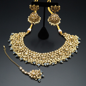 Dasa Gold Polki Stone/Grey Beads Necklace set - Antique Gold