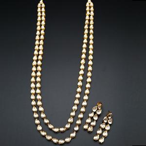 Ednit White Long Kundan Necklace Set -  Gold