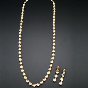 Jani White Long Kundan Necklace Set - Gold