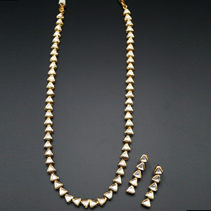 Emet White Long Kundan Necklace Set - Gold