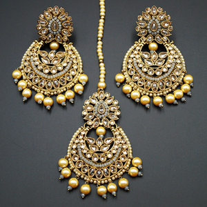 Rupee- Gold Polki/Grey Beads and Pearl Earring Tikka Set - Antique Gold