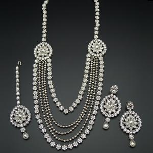 Tista--- White Kundan and Diamante Rani Haar Set - Silver