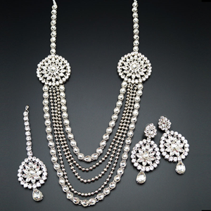 Jagvi White Kundan and Diamante Rani Haar Set - Silver