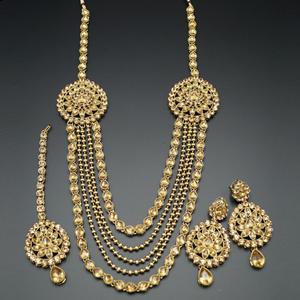 Jagvi Gold Kundan and Diamante Rani Haar Set - AntiqueGold