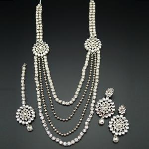 Awati White Kundan and Diamante Rani Haar Set - Silver