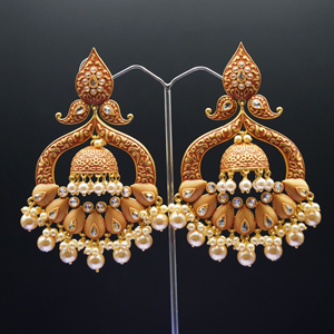 Bhime- Dark Orange Meenakari/Gold Polki Earrings - Gold