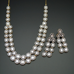 Yamir  White American Diamond Necklace Sets-Gold