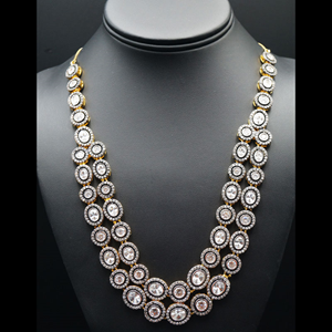 Yamir  White American Diamond Necklace Sets-Gold