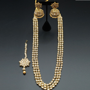 Yash- Long Polki Necklace Set - Antique Gold