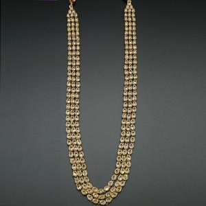 Yash- Long Polki Necklace Set - Antique Gold