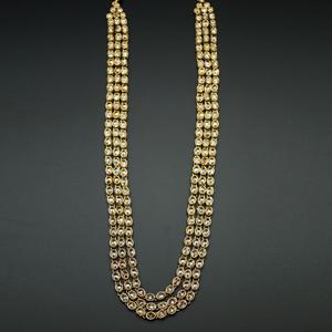 Yogi- Long Polki Necklace Set - Antique Gold