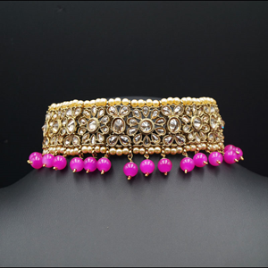 Yamha-  Gold Polki Stone/Hot Pink Beads Choker Set - Antique Gold