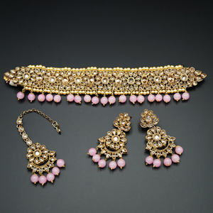 Yamha-  Gold Polki Stone/Baby Pink Choker Set - Antique Gold