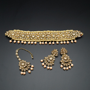Yamha- Gold Polki Stone/Peach Beads Choker Set - Antique Gold