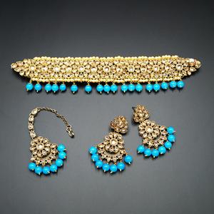 Yamha- Gold Polki Stone/Turquoise Beads Choker Set - Antique Gold