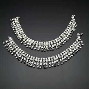 Sena White Diamante Ghungroo Payals - Silver