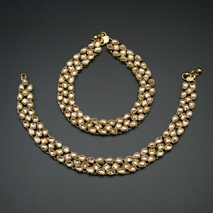 Naia Gold Kundan Payals - Antique Gold