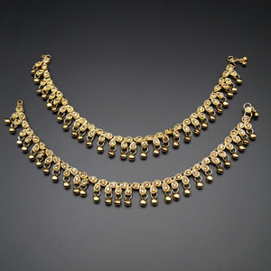 Jian Gold Diamante Ghungroo Payals - Antique Gold