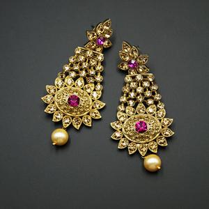 Prachi - Pink|Gold Diamante Earrings - Gold